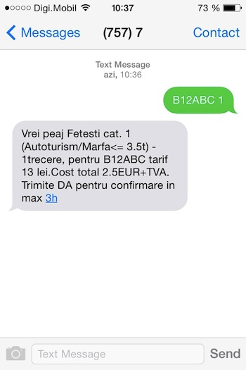 e-Tarif prin SMS la 7577 Taxa Pod Fetesti Cernavoda
